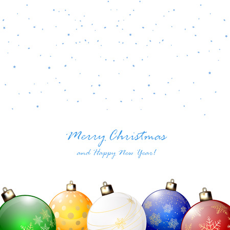 Colorful Christmas balls on white background with confetti, illustration. Vector