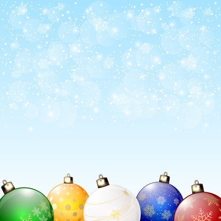 Set of colorful Christmas balls on blue snowy background, illustration. Vector