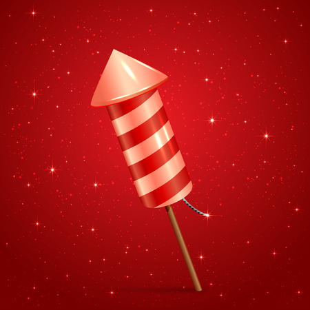 background color: Fireworks rocket on red starry background, illustration.