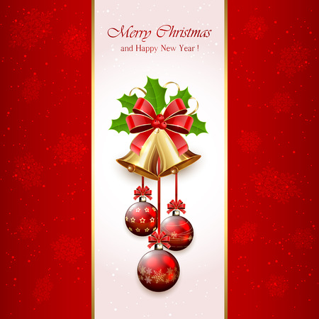 Red Christmas background with golden bells, red bow, balls, tinsel and Holly berries, illustration. Vector