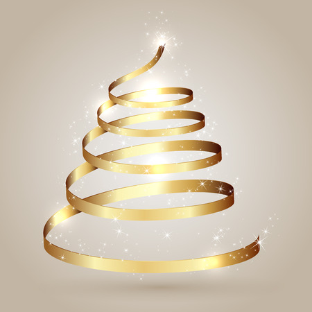 sars: Christmas tree from golden ribbon with sars, illustration. Illustration