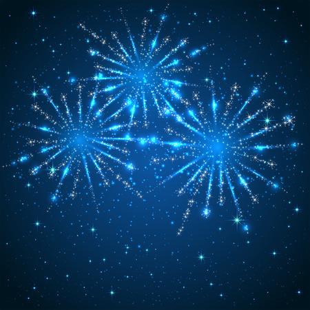 Blauwe achtergrond sterrenhemel met glanzende vuurwerk, illustratie. Stock Illustratie