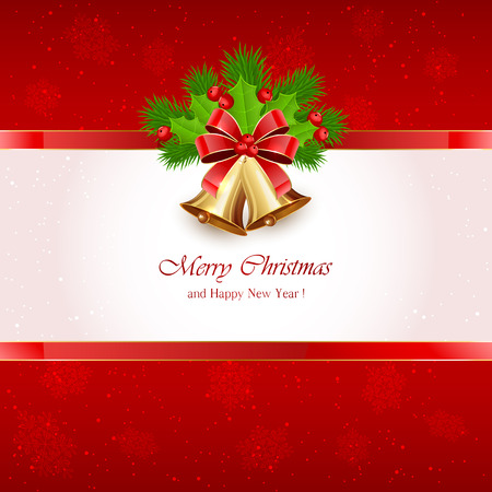 Red Christmas background with golden bells, red bow, Holly berries and fir tree branches, illustration. Vector