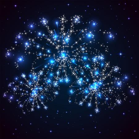 cielo estrellado: Cielo azul estrellado y fuegos artificiales brillantes, ilustraci�n.