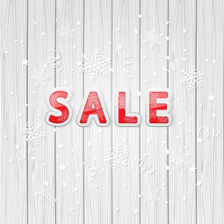 Christmas inscription sale with snowflakes and confetti on wooden background, illustration.