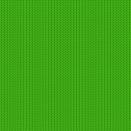 Seamless background, green knitted pattern, illustration. Vector