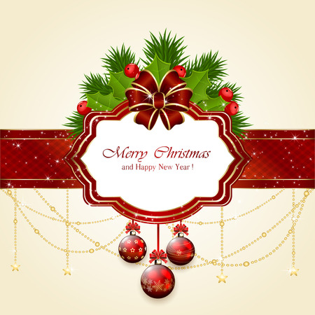 Decorative card with Christmas balls, holly berry, fir tree branches  and red bow, illustration. Vector