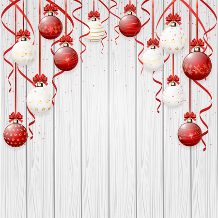 new year border: Red Christmas balls and confetti on wooden background, illustration.