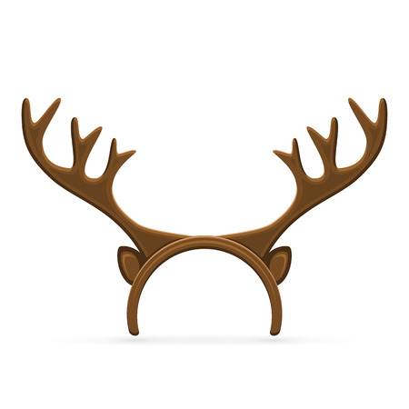 christmas reindeer: Funny mask with Christmas reindeer horns isolated on white background, illustration.