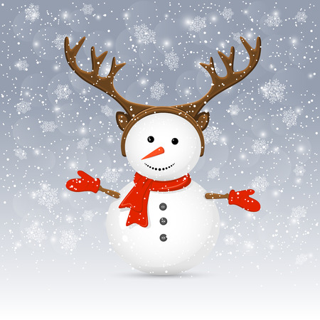 Christmas background with cute snowman and antler, illustration. Vector