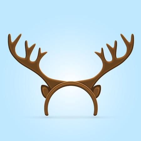 antlers: Funny mask with Christmas reindeer horns on blue background, illustration.
