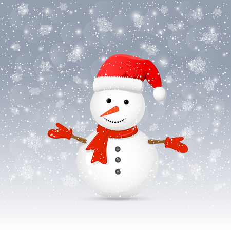 santa       hat: Christmas background with cute snowman and red Santa hat, illustration. Illustration