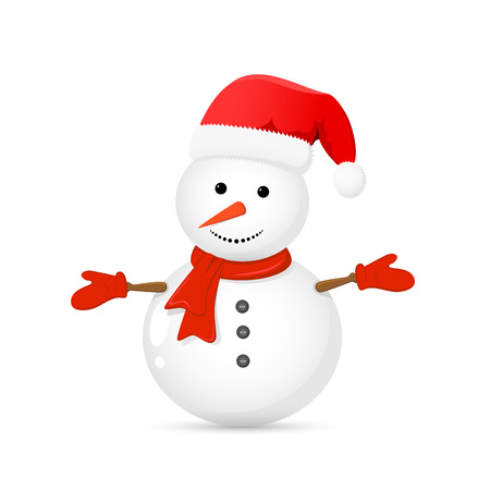 santa       hat: Snowman with Santa hat isolated on white background, illustration.