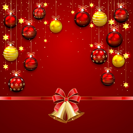 christmas bells: Red background with Christmas balls, bells, confetti and bow, illustration.
