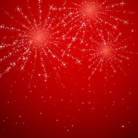 Shiny fireworks on red starry background, illustration.