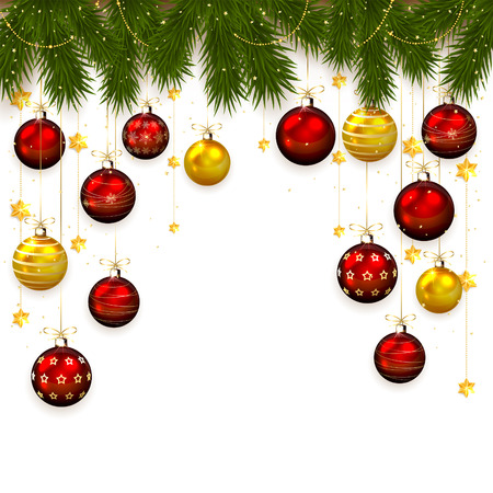 Christmas balls, stars, confetti and fir tree branches on white background, illustration. Vector