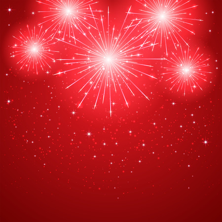 Shiny firework on red starry background, illustration.