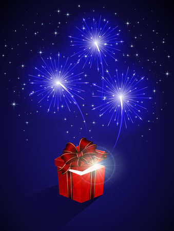 Blue shiny fireworks and gift box, illustration. Vector