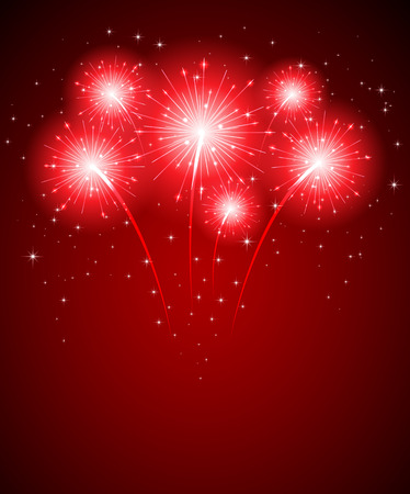 Shiny firework and stars on red background, illustration.