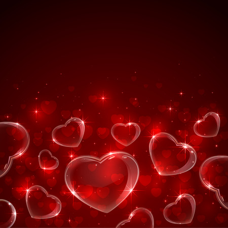st valentin's day: Red Valentines background with hearts and stars, illustration.