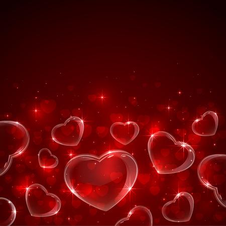soapy: San Valent�n Fondo rojo con corazones y estrellas, ilustraci�n.
