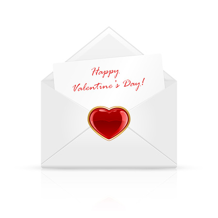 st valentins day: Open envelope mail with Valentines congratulation and red heart, illustration.