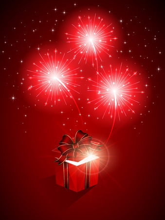 Red shiny fireworks and gift box, illustration. Vector