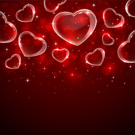 Red Valentines background with shining hearts, illustration. Illustration