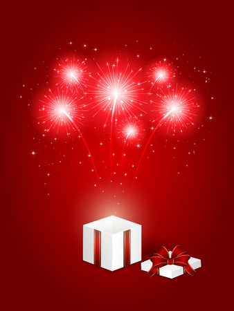 Shiny fireworks and gift box on red background, illustration. Vector