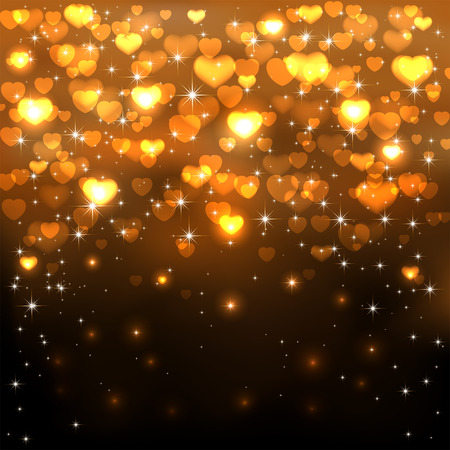 gold star mother's day: Dark background with shiny golden hearts and stars, illustration.