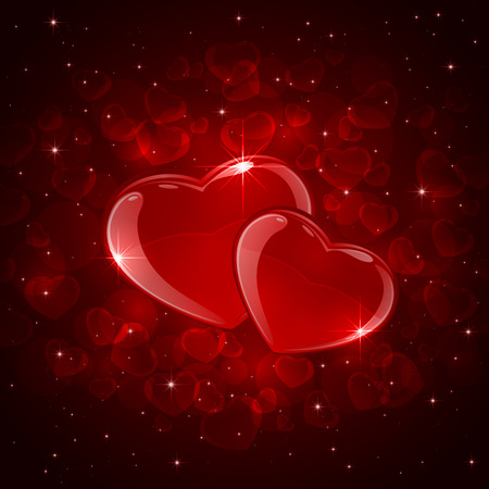 st valentin's day: Valentines background with two red hearts and stars, illustration. Illustration