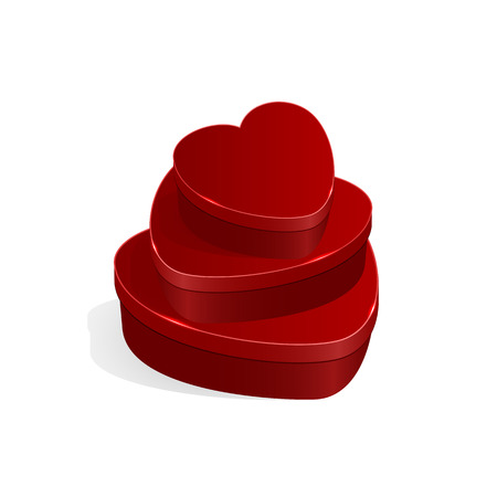 st valentin's day: Valentines gift boxes in form of heart isolated on white background, illustration