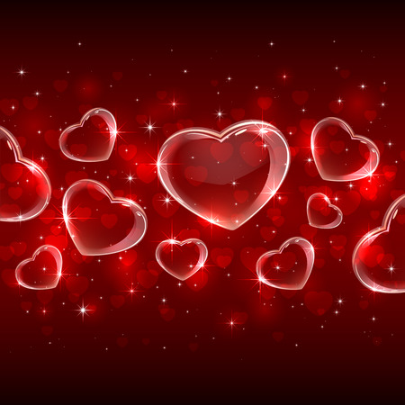 st valentin's day: Red Valentines background with transparent hearts, illustration.