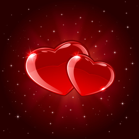 Red valentines background with two shiny hearts and rays, illustration.