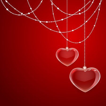 st valentin's day: Red Valentines background with shining hearts and decorative elements, illustration.