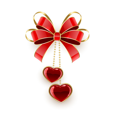 st valentins day: Valentines hearts and red bow isolated on white background, illustration.