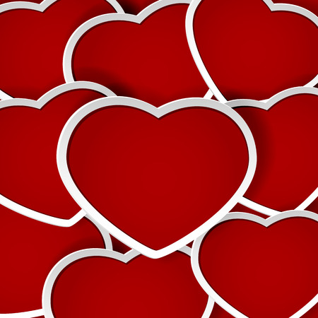 st valentins day: Valentines background with red paper hearts, illustration.