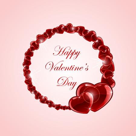 st valentin's day: Red shiny hearts on pink Valentines background, illustration. Illustration