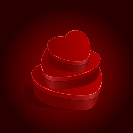 st valentin's day: Presents in form of heart on red background, illustration