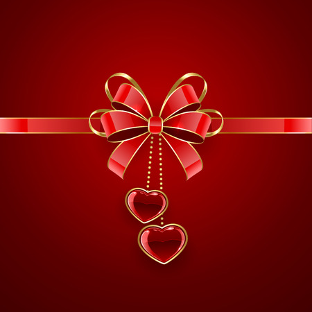 Red Valentines background with shining hearts and bow, illustration. Vector