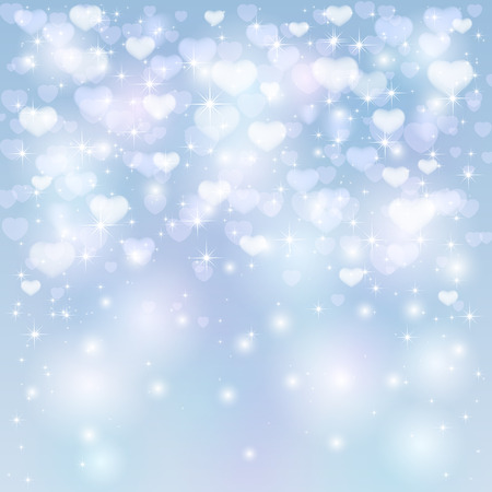 Valentines background with shiny hearts and stars, illustration. Vector