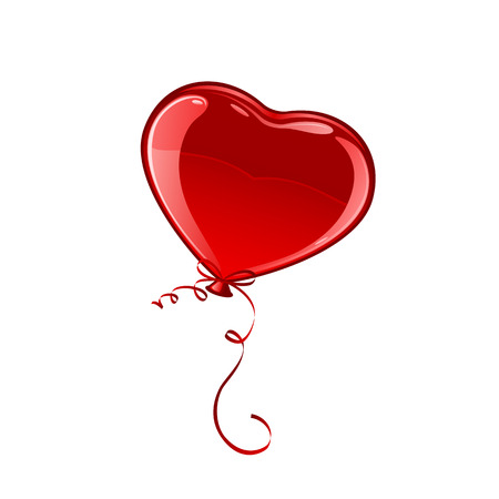 ballon: Red Valentine balloon in the form of heart isolated on white background, illustration. Illustration