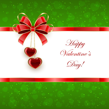 st valentins day: Green Valentines background with shining hearts and bow, illustration.