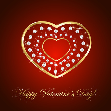 st valentins day: Red background with shiny golden hearts and diamonds, illustration.