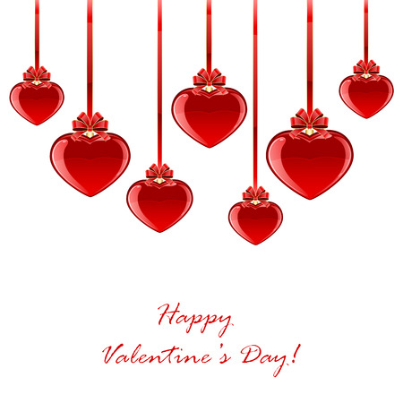 st valentin's day: Red Valentines hearts with bow isolated on white background, illustration.