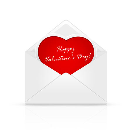 st valentins day: Open envelope mail with Valentines congratulation on red heart, illustration. Illustration