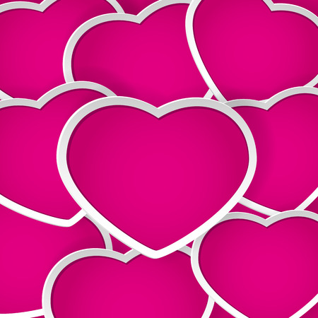 st valentins day: Valentines background with pink paper hearts, illustration.