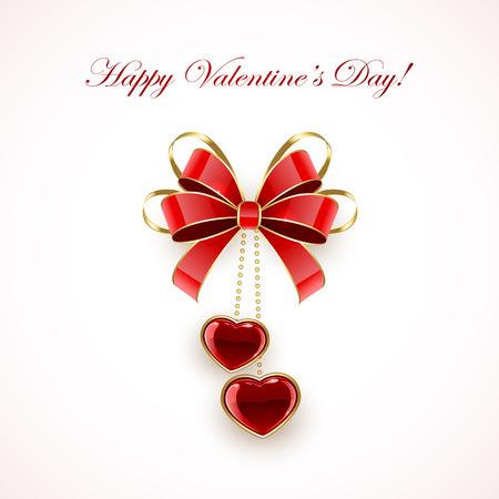 st valentins day: Fiocco rosso e cuori di San Valentino su sfondo rosa, illustrazione.