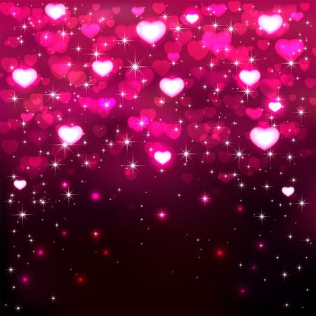 Dunkler Hintergrund mit glänzenden rosa Herzen und Sterne, Abbildung.