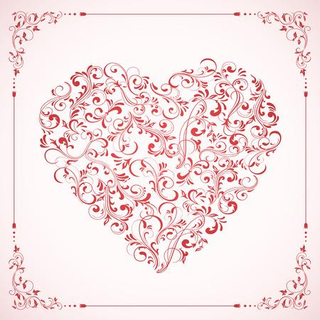 st valentins day: Carta di San Valentino con cuore rosa e cornice da elementi ornati, illustrazione. Vettoriali